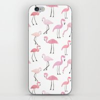flamingos iPhone & iPod Skins featuring Flamingos by Abby Galloway