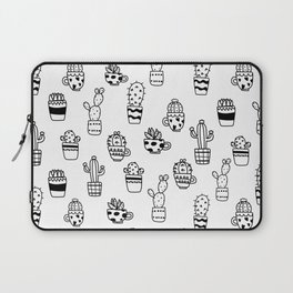 Black and White Seamless Cactus pots pattern Laptop Sleeve