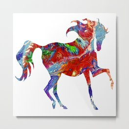Horse Colorful Silhouette Metal Print
