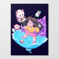 bee and puppycat Canvas Prints featuring Bee and Puppycat- Dream by merrigel
