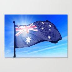 Australia flag waving on the wind Canvas Print