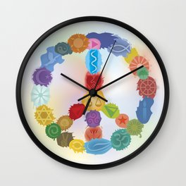 Peace Sign In Colors Wall Clock