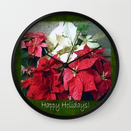 Mixed color Poinsettias 3 Happy Holidays P1F5 Wall Clock