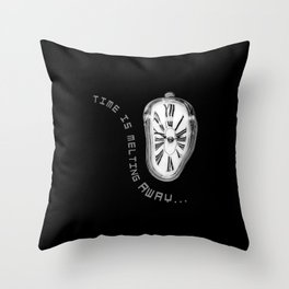 Salvador Dali Inspired Melting Clock. Time is melting away. Throw Pillow