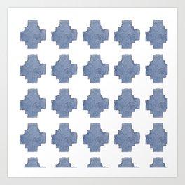 Chambray Cross Pattern Art Print