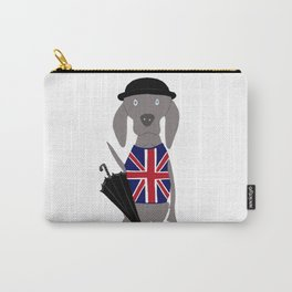Brit Weim British Grey Ghost Weimaraner Dog Hand-painted Pet Drawing Carry-All Pouch