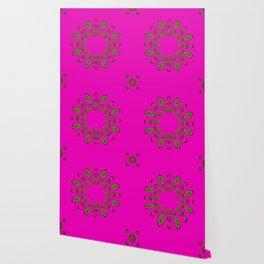 Sweet hearts in  decorative metal tinsel Wallpaper