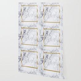 White Marble Gold Frame Wallpaper