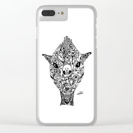 Space alien monster doodle (zentangle handdrawn) Clear iPhone Case
