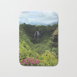 Mountain waterfalls and floral Bath Mat