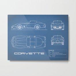 The Vette C3 Blueprint Metal Print