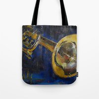trumpet Tote Bags featuring Trumpet by Michael Creese