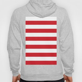 Horizontal Stripes - White and Fire Engine Red Hoody