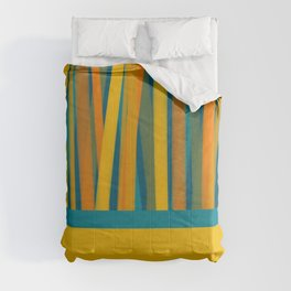Ribbon Abstract Lined Cuff Pattern in Moroccan Blue, Green, Teal, Orange, and Mustard Comforters
