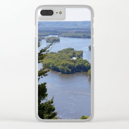 Upper Mississippi River, looking downriver from Buena Vista Park, Alma, WI Clear iPhone Case