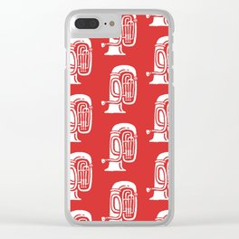Tuba Pattern Red Clear iPhone Case