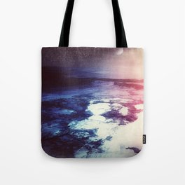 Blue Purple Planet // Violet Star Field // Surreal Space Painting Tote Bag