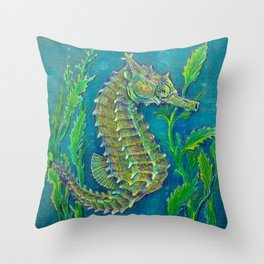 Sea Horse #3 Original Art By Catherine Coyle Throw Pillow