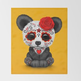 Red Day of the Dead Sugar Skull Panda Throw Blanket