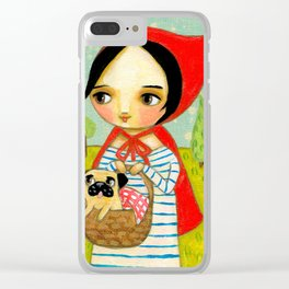 Little Red Riding Hood and her Pug Clear iPhone Case