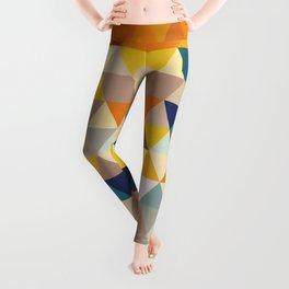 Geometric Triangle - Ethnic Inspired Pattern - Orange, Blue Leggings