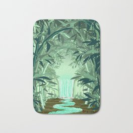 Fluorescent Waterfall on Surreal Bamboo Forest Bath Mat