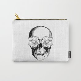 Skull and Roses | Skull and Flowers | Vintage Skull | Black and White | Carry-All Pouch