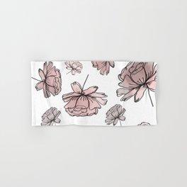 Hand Drawn Peonies Dusty Rose Hand & Bath Towel