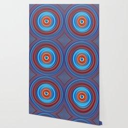 Vivid Blue and Orange Swirl Wallpaper