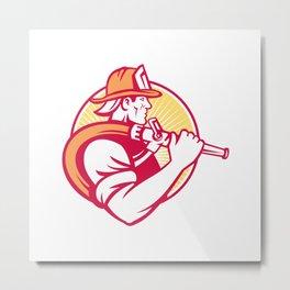 Fireman Firefighter Emergency Wo Metal Print