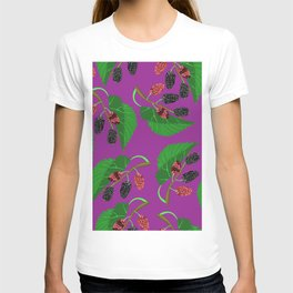 Black mulberry on lilac background. T-shirt