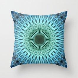 Light blue mandala with a bit of green Throw Pillow