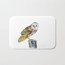 Strike a Pose - painting of a young Barn Owl by Teresa Thompson Bath Mat