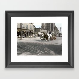 Vancouver Fire Department horsedrawn steam pump on Georgia Street near Richards c.1915 Framed Art Print