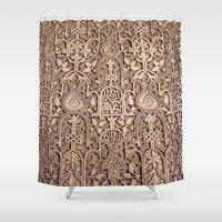 arabic Shower Curtains featuring Arabic Patterns by Laurais Arts