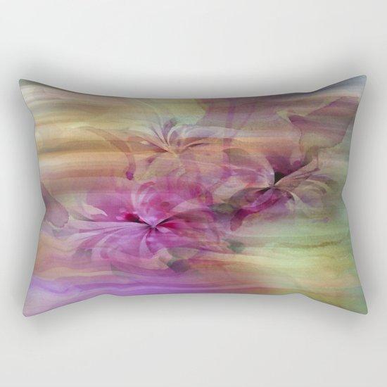 Sunset Painterly Floral Abstract Rectangular Pillow