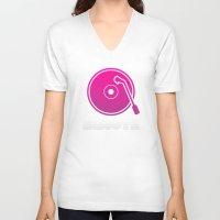 vinyl V-neck T-shirts featuring Vinyl by Billy Tester