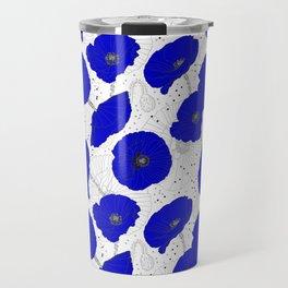 Cobalt Blue Poppies Pattern Travel Mug