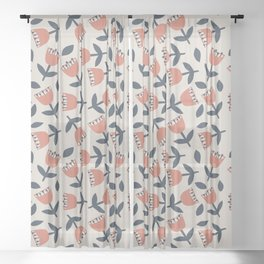 Red Flowers Sheer Curtain