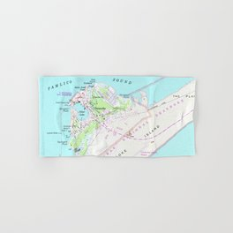 Vintage Map of Ocracoke North Carolina (1948) Hand & Bath Towel