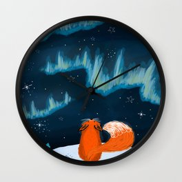 The Fox and the Northern Lights Wall Clock
