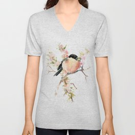 Bullfinch and Spring, Peach colored Floral bird art, spring soft colors Unisex V-Neck