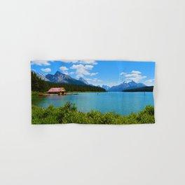 Maligne Lake Boat House in Jasper National Park, Canada Hand & Bath Towel