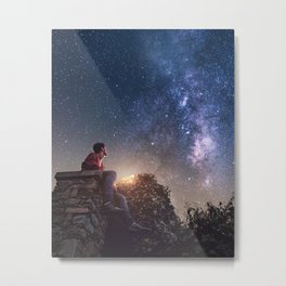 Young man contemplating milky way on nisht sky shiny stars and warm light on his face Metal Print