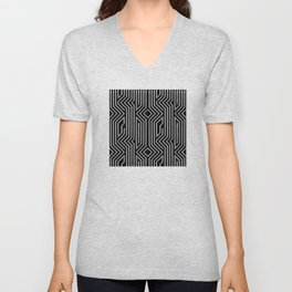 3-D Art Deco Silver Architectural Design Unisex V-Neck