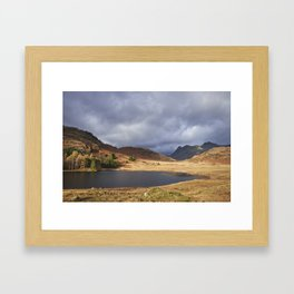 Blea Tarn with Langdale Pikes beyond. Cumbria, UK. Framed Art Print