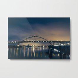 Fremont Bridge at Night Metal Print