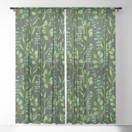 Eucalyptus on dark green Sheer Curtain