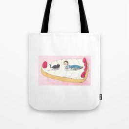 cat and girl on the berry tarte Tote Bag
