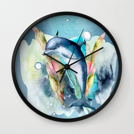 Watercolor Under Sea Collection: Dolphin Wall Clock